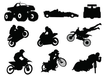 rallying: sillhouette de motores deporte Vectores