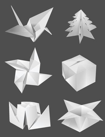 origami oiseau: fleur bo�te origami oiseau arbre de navire Illustration