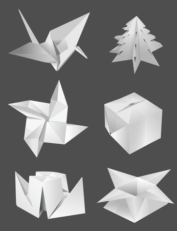 uccello origami: origami uccello Bosso nave fiore Vettoriali