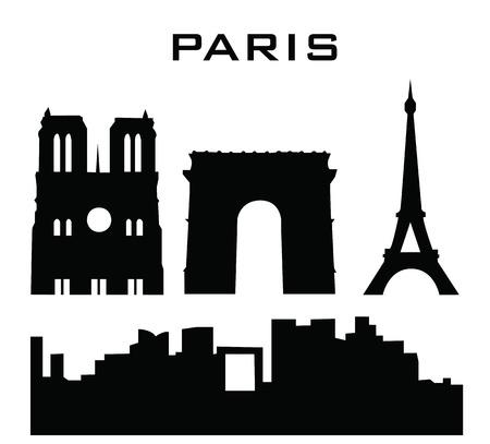 sillhouetee van parijs gebouwen Stock Illustratie