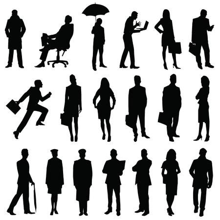 silhouet van mensen werknemers Stock Illustratie
