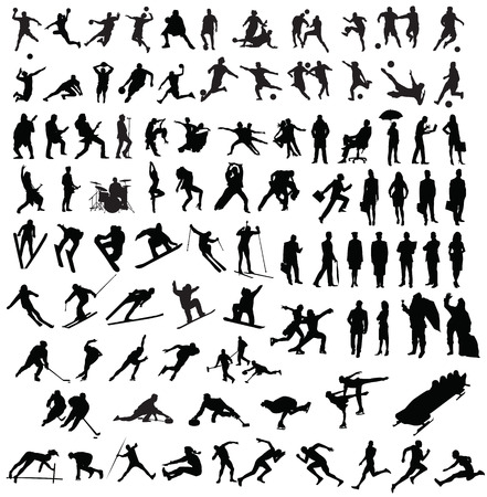 skier: sillhouette of people sports workers Illustration