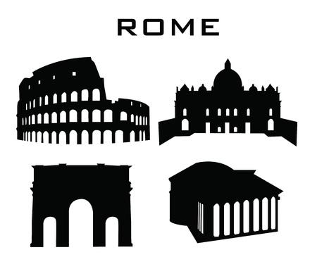 sillhouette van gebouwen rome Stock Illustratie