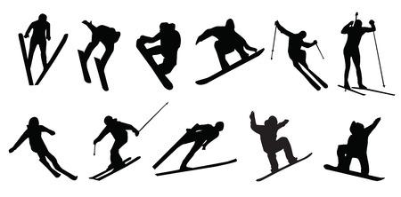silhouet van sportieve skiër snowboarden Stock Illustratie