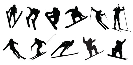 silhouette of sports skier snowboarding