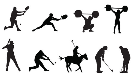 weightlifting: silhouette of sports golf tenis
