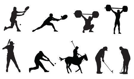 levantamiento de pesas: silueta de golf tenis deportes Vectores