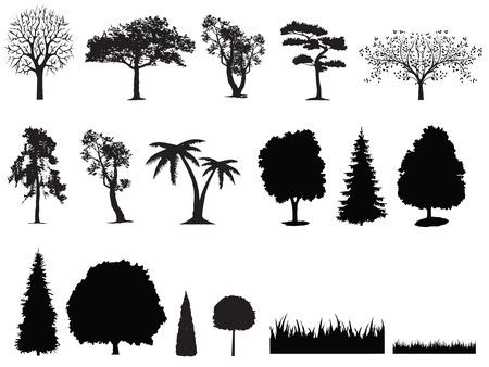 silhouet van de boom gras Stock Illustratie