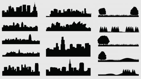 länder: Silhouette der Städte Wiese