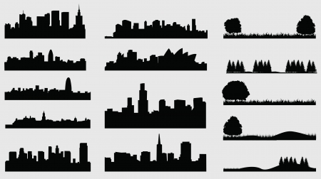 city  buildings: silhouette of cities meadow