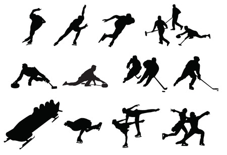 bobsleigh: silhouette of people sports Illustration