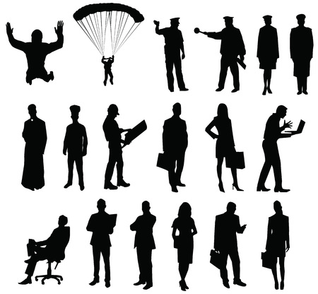 silhouette of people workers Ilustracja