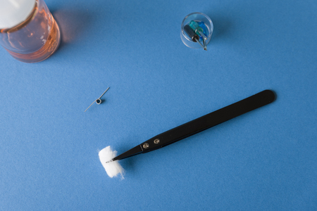 Tweezers with cotton, screwdrivers, cotton and coil for vaping repair