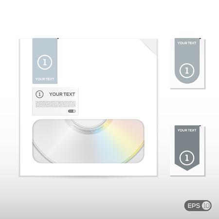 cd case: Los datos de CD del disco de DVD con estuche y la etiqueta Vectores