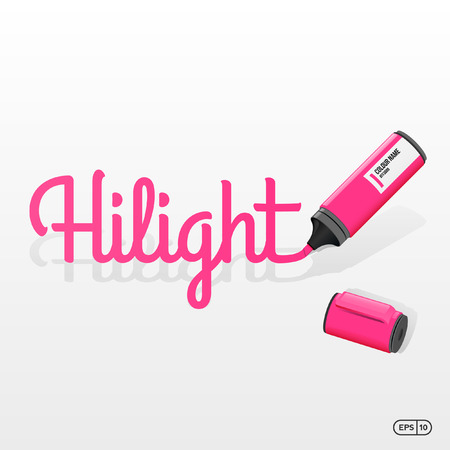 hilight: Pink Marker or Highlighter with Hilight Text Vector illustration