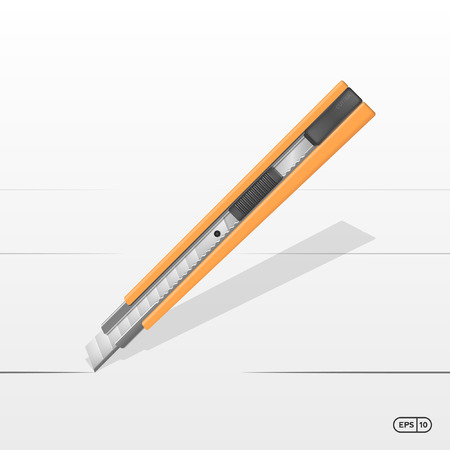 cut line: Yellow Cutter with cut line Vector illustration