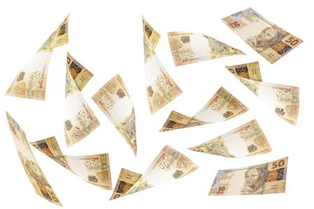 50 reais banknotes from Brazil falling on isolated white background. Concept of fortune, prize, big luck or investment