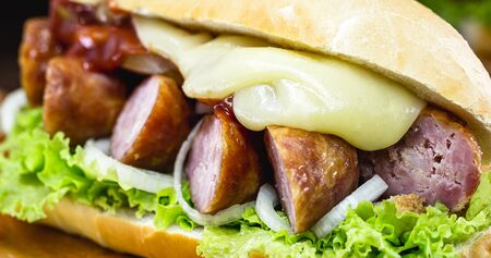 Brazilian beef sandwich, sausage, tomato, lettuce and onion in a salt bread. Stockfoto