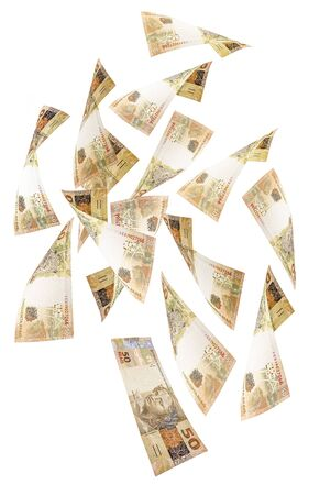50 real bank notes of Brazil falling on isolated white background. big luck, lottery or cash prize concept