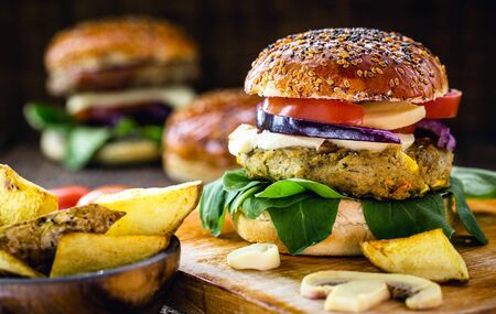 vegan hamburger, bread made with rice flour, and organic yeast with vegetables and fibers.