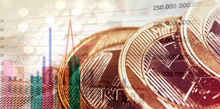 Brazilian money with market graph, concept of stock exchange and investments. Financial themed background, with real banknotes, money from brazil.