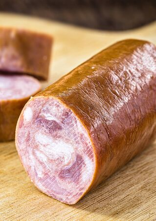 Pepperoni sausage is a type of sausage seasoned with pepperoni pepper. It was created in Brazil, São Paulo, in Bixiga. Culinary ingredient rasil dob used in pizzas, stews and roasts. Archivio Fotografico