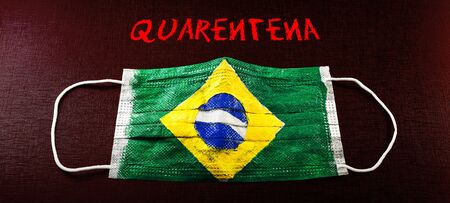 respiratory mask with Brazilian flag texture, and written in Portuguese. Concept of coronavirus crisis in Brazil and quarantine.