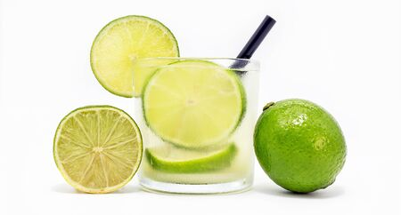 white background lemon caipirinha, typical brazilian lemon drink with cachaça