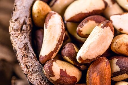 Foods with healthy unsaturated fat. Brazilian Nuts, popularly known in Portuguese as Brazil nuts, Amazon nuts, Bolivian nuts, Toquei or Tururi, is a treat abundant in northern Brazil and Bolivia. 스톡 콘텐츠