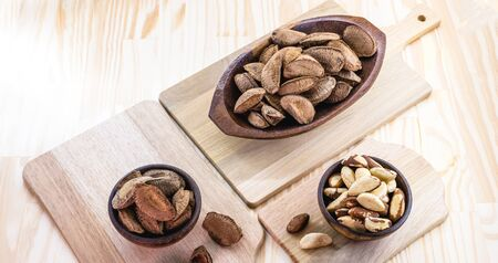 Brazil nuts, stuffed shell, shelled and ready to cook. Brazilian cuisine. Chestnut most consumed by Brazilians. Stock Photo