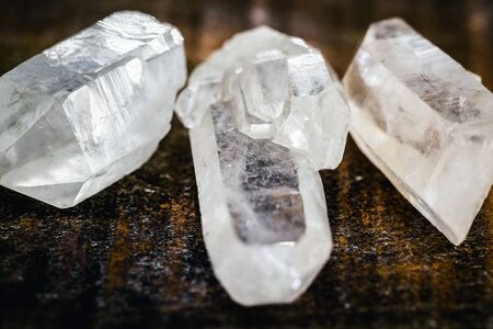 Transparent quartz or rock crystal is the second most abundant mineral on earth. It has a trigonal crystalline structure composed of silica tetrahedra. Crushed Ore. Esoteric pattern and zen 스톡 콘텐츠