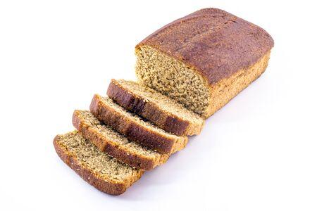 vegan banana bread isolated on white background. Healthy, gluten-free, vegetarian bread.