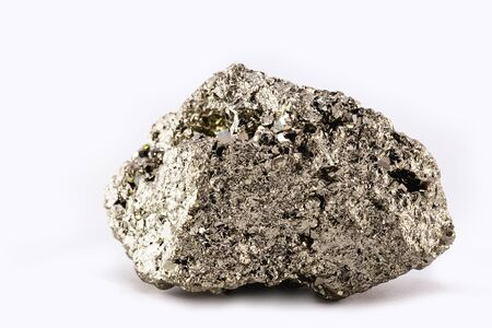 Iron pyrite nugget or iron expert, raw silver metal. Brazilian nugget. Esoteric stone concept, stone used in meditation for spiritual treatment. Stock Photo