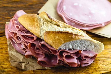 Bread sandwich with bologna. Typical Brazilian sandwich found in the municipal market of the city of São Paulo.