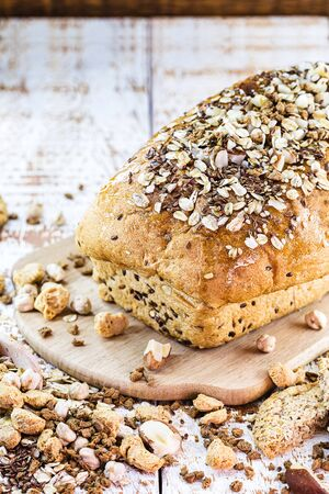 homemade vegan bread. Bread with Brazil nuts, walnuts, flaxseed, oats, chickpeas and soy. Bread without sugar.
