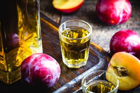 Brazilian plum liquor. Fruit-based alcoholic drink, homemade at home. Export product. Zdjęcie Seryjne