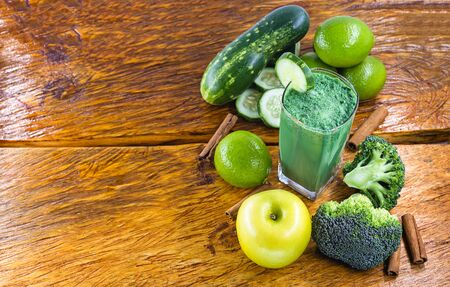 Fresh green juice, detox viterra, Brazilian vegetable juice and green fruits. Drink that has components that favor liver cleansing. Diet or regimen concept. Space for text, banner. Stock Photo