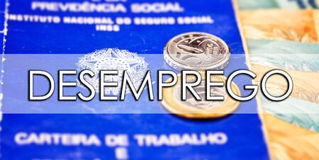 old work card from brazil, with coins and brazilian money, with the word