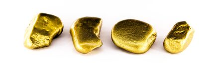 gold nuggets on white background isolated. High resolution photo of gold stones. Concept of luxury and wealth.