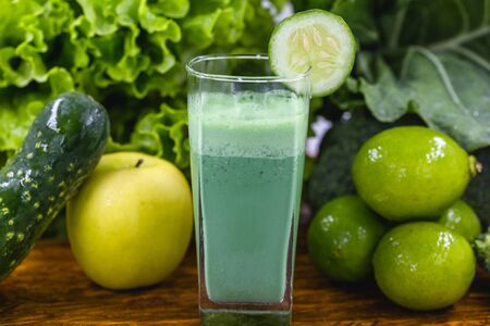 detox juice is a drink that has components that favor liver cleansing, enhancing the elimination of toxins that overload our body. Healthy food and diet concept. Green juice.
