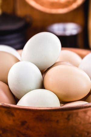 colored Brazilian free-range egg, from chickens fed diets exclusively of vegetable origin, organic food without chemical additives