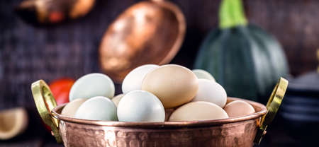 colored Brazilian free-range egg, from chickens fed diets exclusively of vegetable origin, organic food without chemical additives Stock fotó