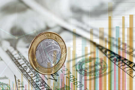 conceptual image about stock exchange, brazil money banknotes and united states background