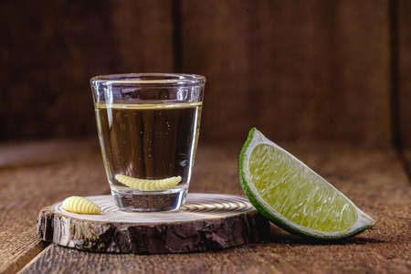 several glass of mezcal (or mezcal), typical and exotic brandy from mexico, with larva in the background and lemon, originally from the state of Oaxaca
