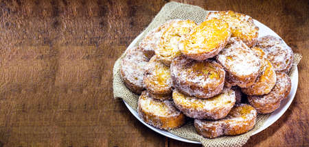 Traditional Brazilian food French toast at Christmas, holiday dessert