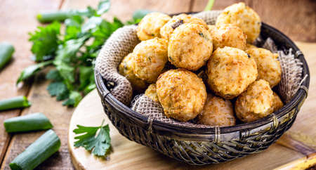 codfish cakes, codfish cakes, fish meat pastries, Brazilian cod bunuelos, typical of Easter Imagens