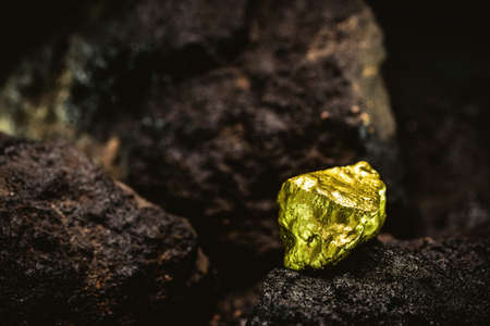 gold nugget in mine, concept of precious stone excavation