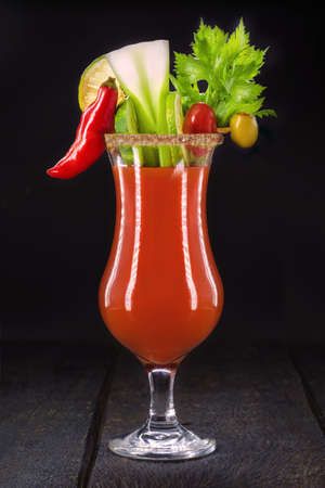 Bloody mary, a cocktail made with vodka, tomato juice, lemon juice, Worcestershire sauce, tabasco and pepper