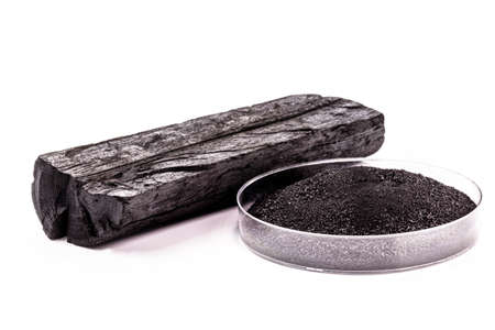 petri dish with powdered charcoal next to piece of charcoal, isolated white background Foto de archivo
