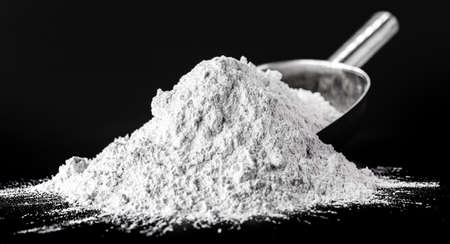 zinc oxide, white powder used as a fungus growth inhibitor in paints and as an antiseptic ointment in medicine Stock Photo